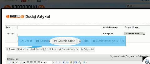 Zakładka z formularzem przesyłającym plik ZIP z galerią na serwer.